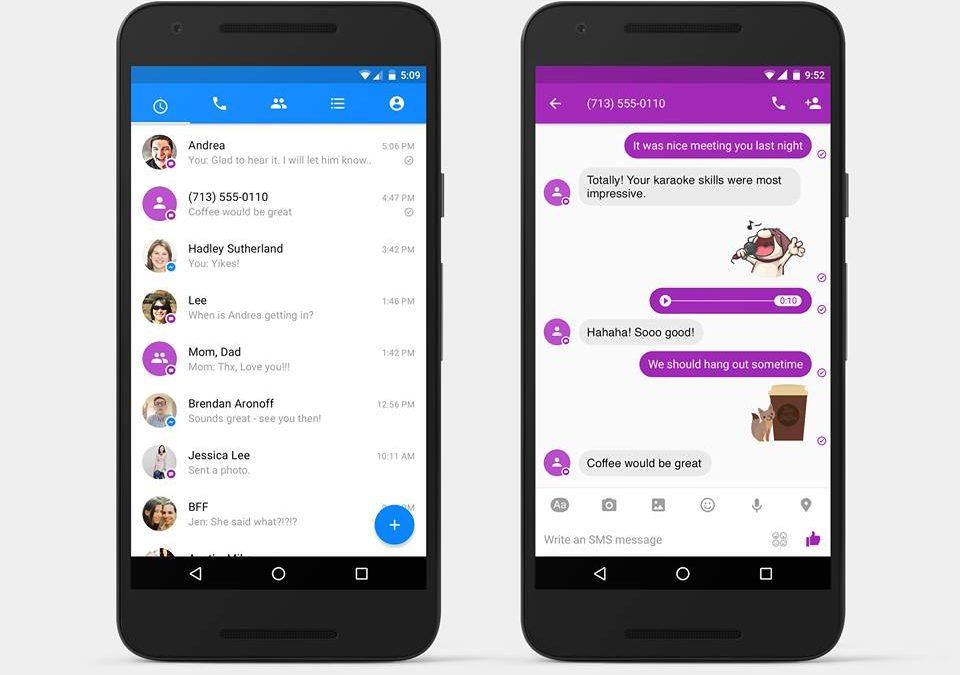 FACEBOOK - Arrivano gli SMS su Messenger per Android